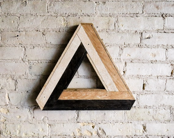 Reclaimed Wood Wall Art, Decor, Lath, Penrose Triangle Small, Geometric Pattern, Escher Black Friday Sale