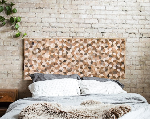 Reclaimed Wood Wall Art, Wood Wall Decor, Geometric Pattern, Queen Headboard, Large Wall Art, Wood Wall Art, Minimalist Decor, Modern Art