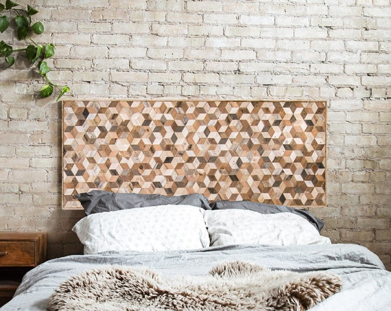 Reclaimed Wood Wall Art, Wood Wall Decor, Geometric Pattern, Queen Headboard, Large Wall Art, Wood Wall Art, Minimalist Modern Art 60 x 24