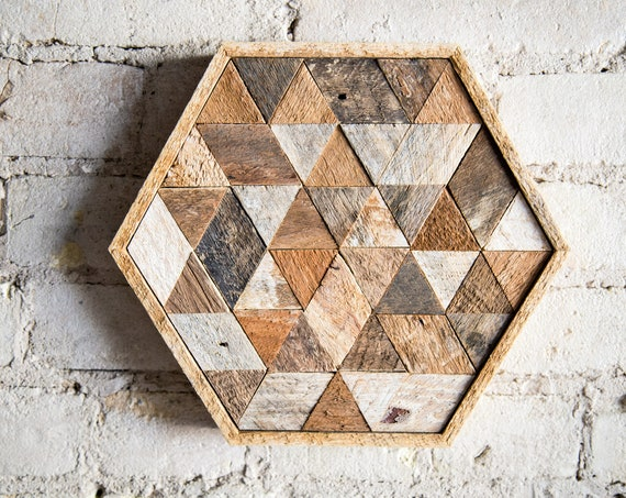 Wood Wall Art, Reclaimed Wood Wall Art, Wood Decor, Wall Decor, Wood Art, Wall Art, Table Tray, Modern Decor, Hexagon, Triangle, Geometric