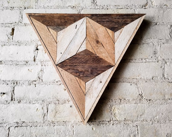 Reclaimed Wood Wall Art | Wood Decor | Reclaimed Wood | Wood Art | Rustic Geometric | Wood Decor | Handmade |  Triangle Cube | Modern Art
