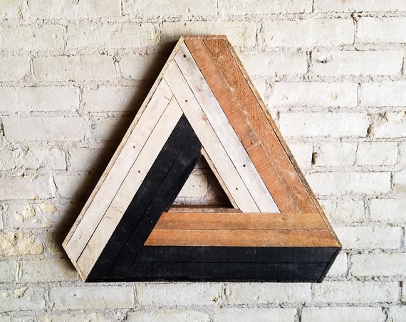 Wood Wall Art, Reclaimed Wood Wall Art, Wood Decor, Wood Art, Wall Art, Wall Decor, Modern Wood Art, Penrose Triangle, Geometric Pattern,