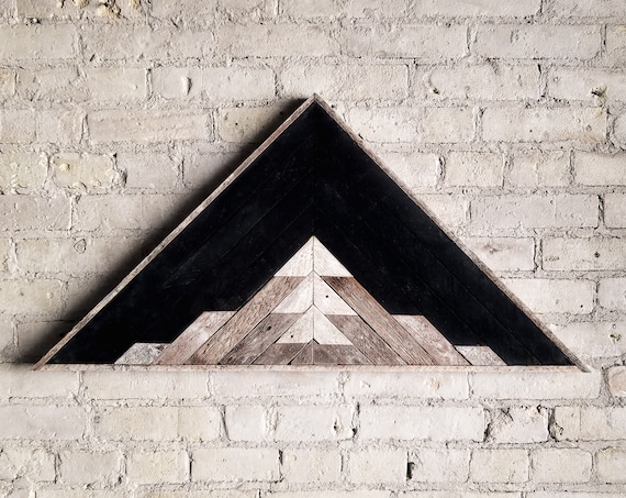 "Reclaimed Wood Wall Art, Decor, Lath, Pattern, Triangle, Mountain, Black, Landscape, 33"" x 17"" Black Friday Sale"