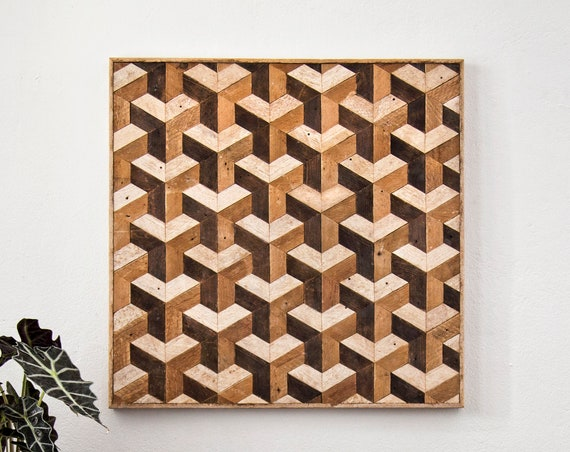 Reclaimed Wood Wall Art | Wood Wall Art | Tessellation | Wood Wall Decor | Wood Design | Wood Decor | Lath Art | Pattern Art | Geometric Art