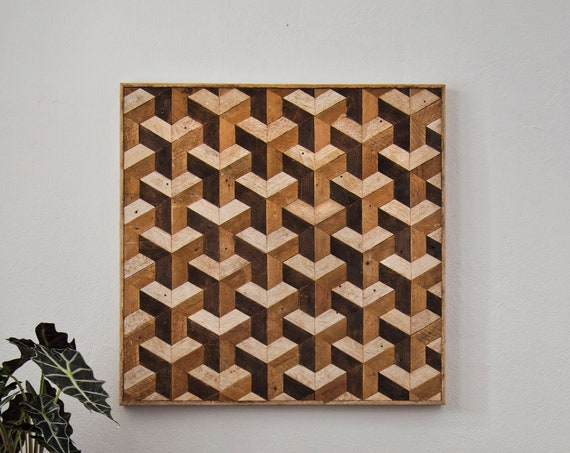 Reclaimed Wood Wall Art, Decor, Lath, Pattern, Geometric, Hexagon, Tessellation 24 x 24 Black Friday Sale