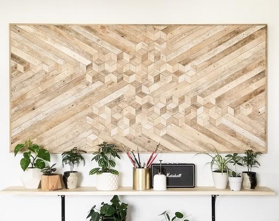 Reclaimed Wood Wall Art | Queen Headboard | Wood Wall Art | Reclaimed Wood | Rustic Geometric Wood Decor | Wood Headboard | Large Wall Art