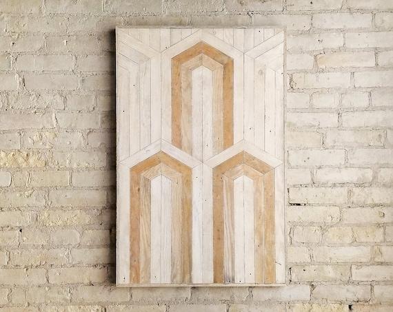 Reclaimed Wood Wall Art | Wood Wall Art | Wood Decor | Art Deco | Neutral Art | Rustic Wood Art | Modern Wall Art | Large Wood Art | 36x24