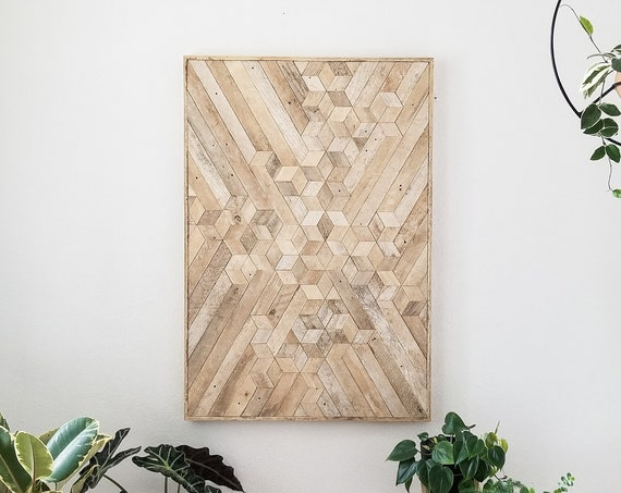 Reclaimed Wood Wall Art | Wood Wall Art | Wood Decor | Geometric Wood Art | Neutral Art | Rustic Wood Art | Modern Wall Art | Large Wood Art