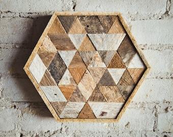 Reclaimed Wood Wall Art, Decor, or Table Tray, Hexagon, Triangle, Geometric, Lath, 9 x 11