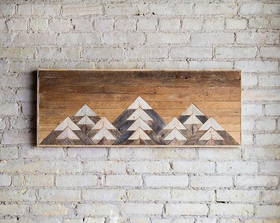 Wood Wall Art | Reclaimed Wood Wall Art | Wall Decor | Twin Headboard |Geometric Wood Art | Mountain Wood Wall Art | Wood Decor | Rustic Art