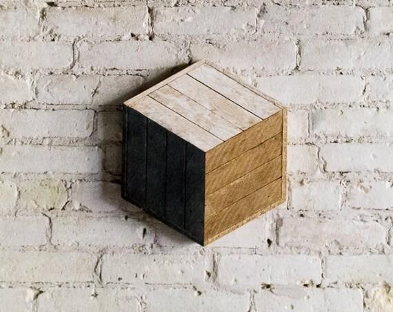 Woood Wall Art, Reclaimed Wood Wall Art, Wood Wall Decor, Wood Art, Wood Decor, Cube Art, Wall Art, Modern Wood Decor, Rustic Wood Wall Art