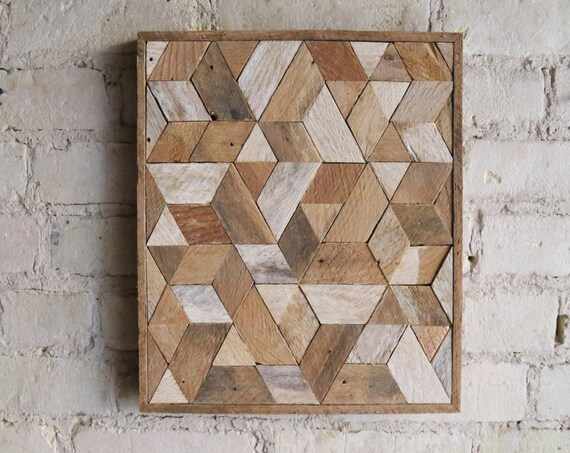 Wood Wall Art | Wood Art  | Reclaimed Wood | Wall Art | Wood Decor | Rustic | Geometric| Wall Decor | Handmade | Diamond | Modern Home Decor