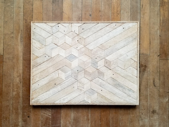Reclaimed Wood Wall Art | Wood Wall Art | Reclaimed Wood | White Wood Art | Rustic Geometric | Wood Decor | Minimalism | Cube | Monochrome