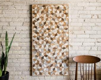 Reclaimed Wood Wall Art, Wood Wall Decor, Geometric Pattern, Large Wall Art, Wood Wall Art, Minimalist Decor, Wood Sign, Modern Wood Art