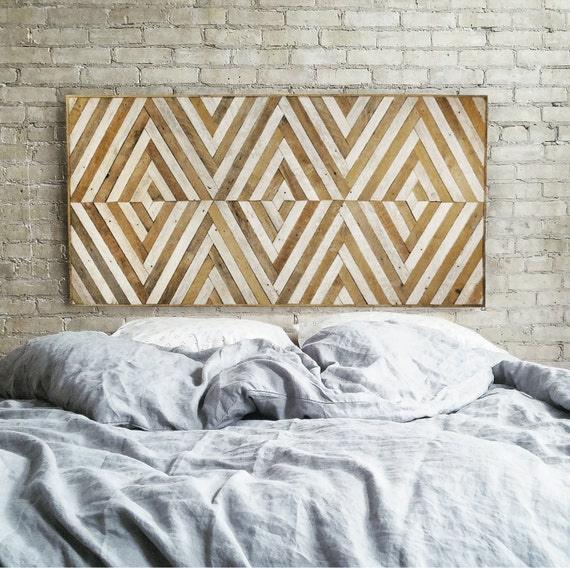 Wood Wall Art   Reclaimed Wood Wall Art   Queen Headboard   Wood Headboard   Geometric Wood Art   Large Art   Wood Wall Decor   Wood Decor