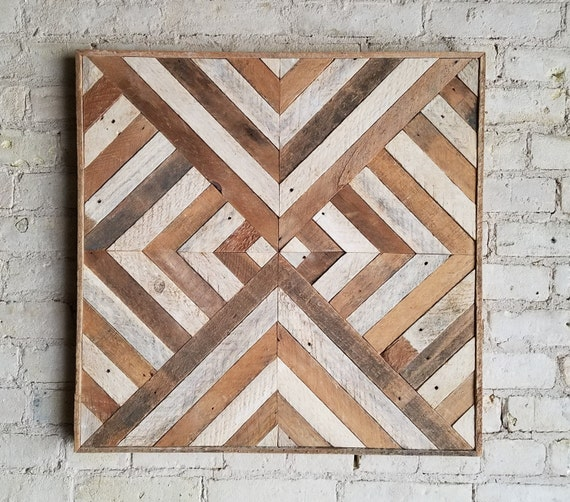 Reclaimed Wood Wall Art, Decor, Lath, Triangle Diamond Geometric Black Friday Sale