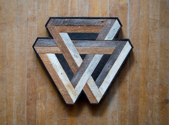 Reclaimed Wood Wall Art | Wood Decor  | Reclaimed Wood | Wood Art | Rustic Geometric| Wood Decor | Handmade | Penrose | Interlocking Penrose
