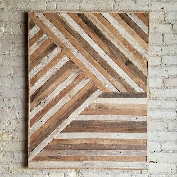 Reclaimed Wood Wall Art, Wood Wall Decor, Twin Headboard, Geometric Pattern, Mixed Banner, 40x30