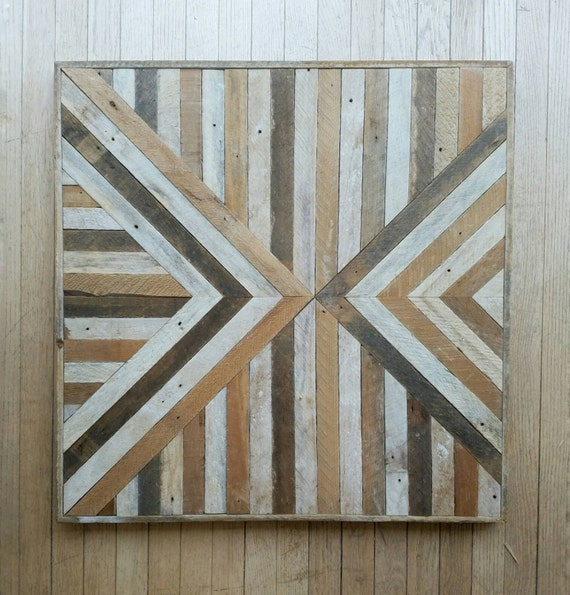 Reclaimed Wood, Wall Art, Geometric, Pattern, Triangle, Inverted, Lath 30 x 30, Wall Decor Black Friday Sale