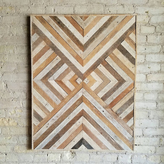Reclaimed Wood Wall Art, Wood Wall Decor, Twin Headboard, Geometric Pattern, 40x30 Black Friday Sale