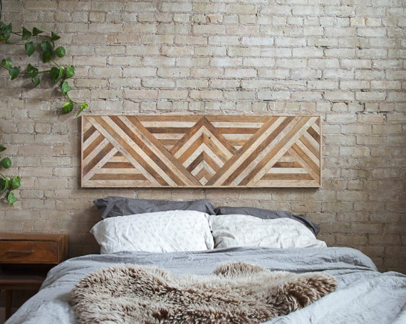 sports shoes 77bd3 57b23 Reclaimed Wood Wall Art, Queen Headboard, Wood Wall Decor, Geometric  Triangle Pattern, 60