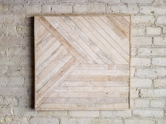 Reclaimed Wood Wall Art, Decor, Lath, Pattern, Geometric, Monochromatic, 24x24