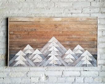 Reclaimed Wood Wall Art, Wall Decor or Twin Headboard, Lath, Geometric, Mountains, Gradient, Tall Black Friday Sale