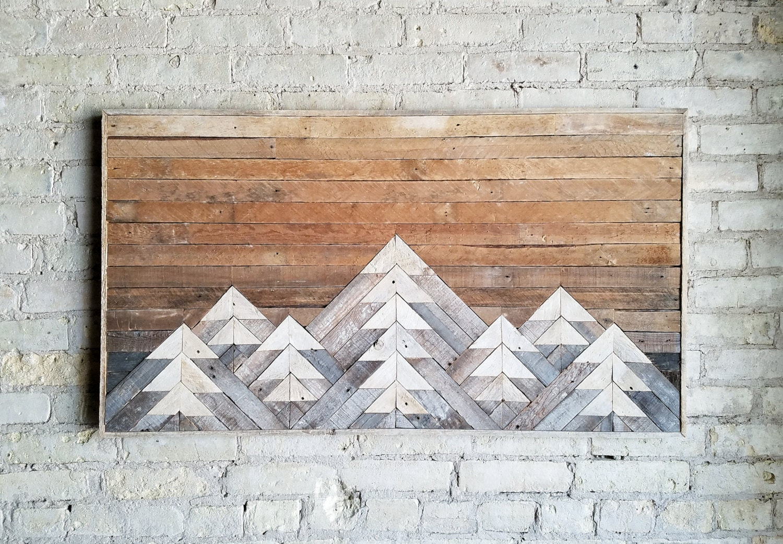 Reclaimed wood wall art wall decor or twin headboard lath geometric mountains gradient tall