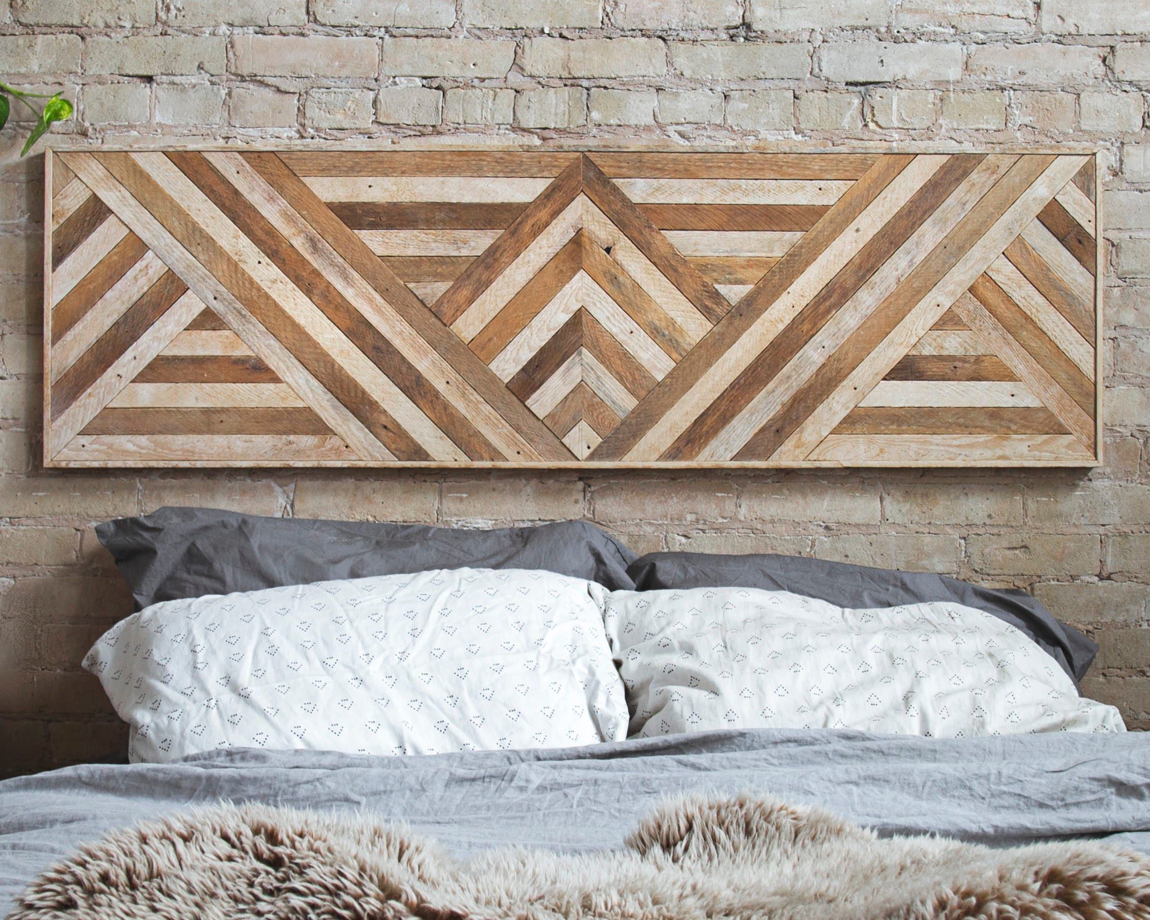 Reclaimed Wood Wall Art Queen Headboard Wood Wall Decor Geometric Triangle Pattern 60\