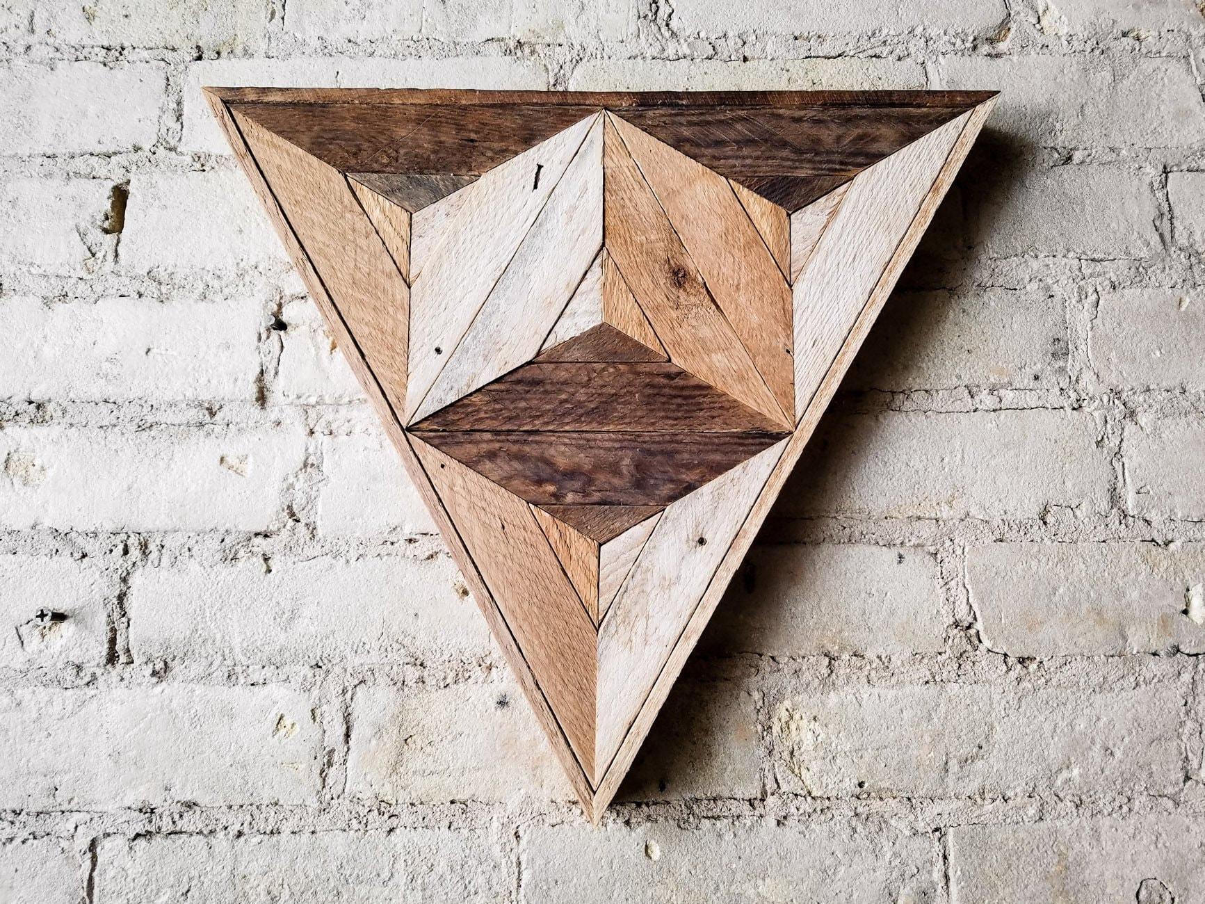 Reclaimed Wood Wall Art Wood Decor Reclaimed Wood Wood Art Rustic Geometric Wood Decor Handmade Triangle Cube Modern Art