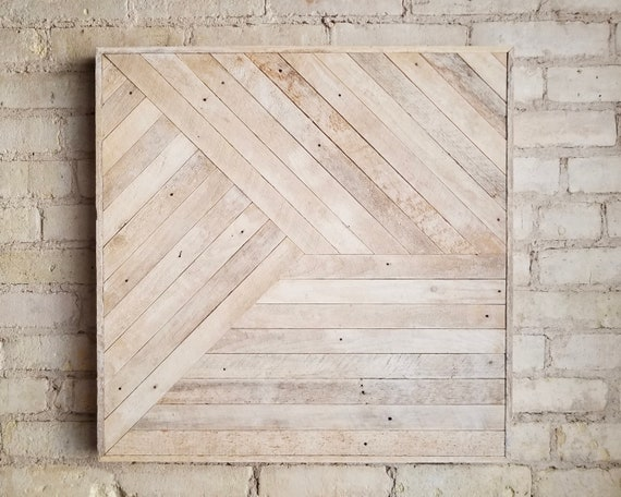 Reclaimed Wood Wall Art, Decor, Lath, Pattern, Geometric, Monochromatic, 24x24 Black Friday Sale