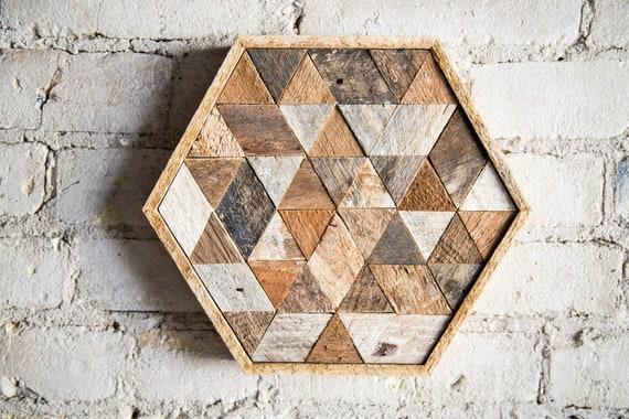 Wood Wall Art Reclaimed Wood Wall Art Wood Decor Wall Decor Wood Art Wall Art Table Tray Modern Decor Hexagon Triangle Geometric
