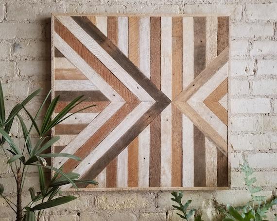 "Reclaimed Wood Wall Art   Wood Wall Art   Geometric Wall Art   Wood Wall Decor   24"" x 24""   Lath, Triangle, Inverted Black Friday Sale"