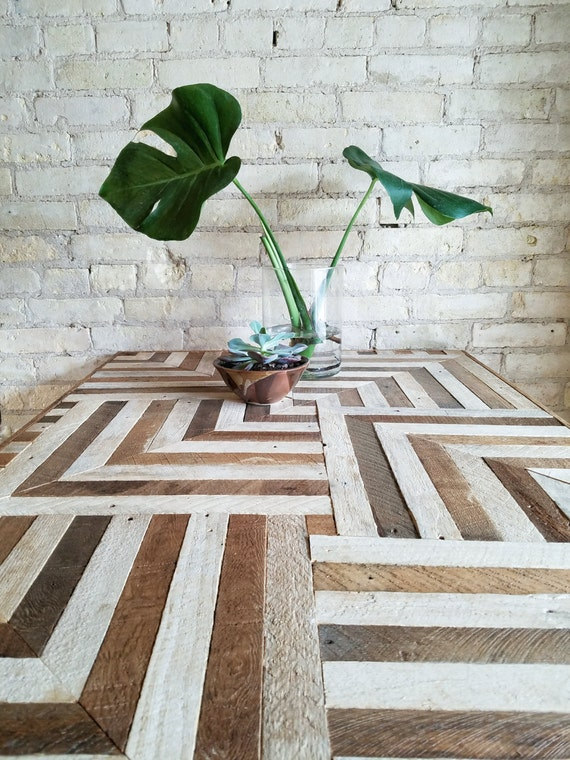Reclaimed Wood Desk, Wood Dining Table, Geometric Pattern, Two Tone Wood Pattern, 6' x 2.5' Black Friday Sale
