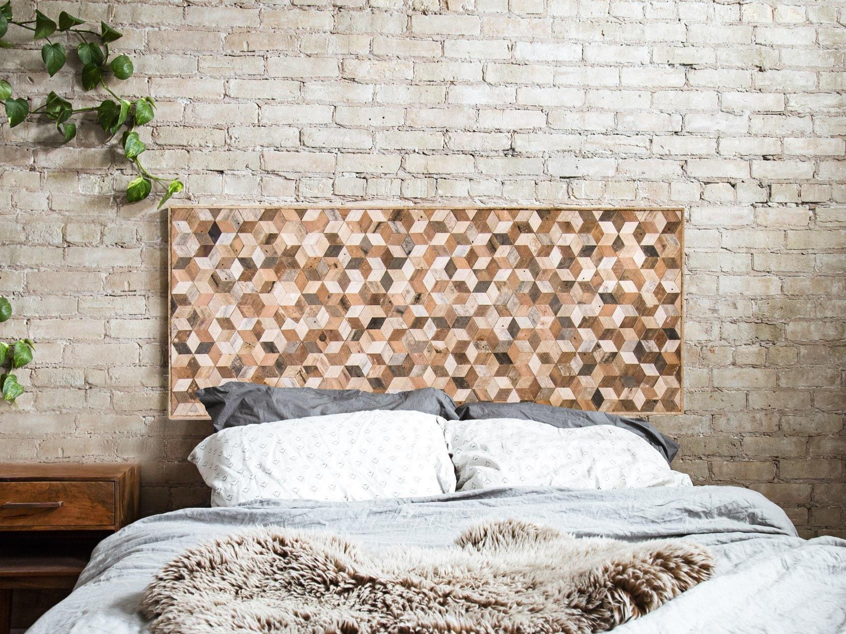Reclaimed Wood Wall Art Wood Wall Decor Geometric Pattern Queen Headboard Large Wall Art Wood Wall Art Minimalist Modern Art 60 X 24