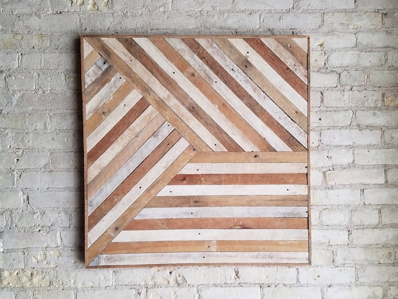 Reclaimed Wood Wall Art, Mixed Banner, Pattern, Geometric, Lath, 30 x 30 Black Friday Sale