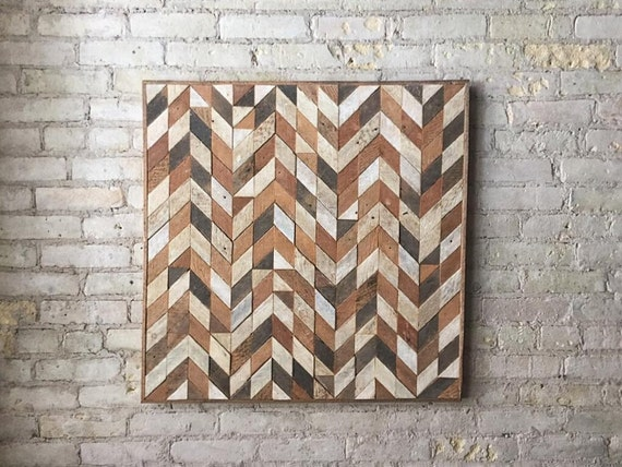 Reclaimed Wood Wall Art, Lath, Pattern, Chevron Black Friday Sale