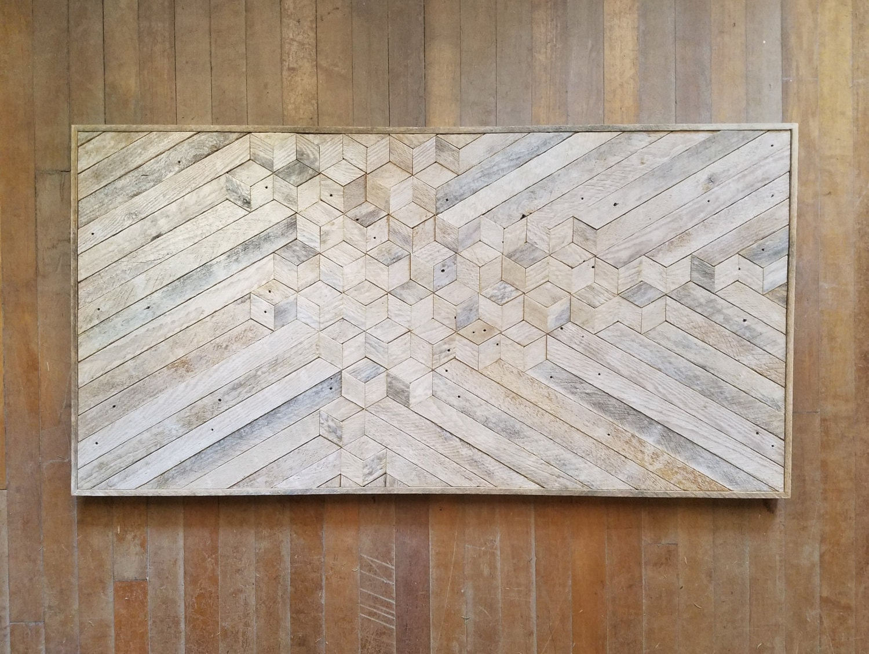 Reclaimed Wood Wall Art | Wood Wall Art | Reclaimed Wood | White Wood Art |  Rustic Geometric | Wood Decor | Minimalism | Cube | Monochrome