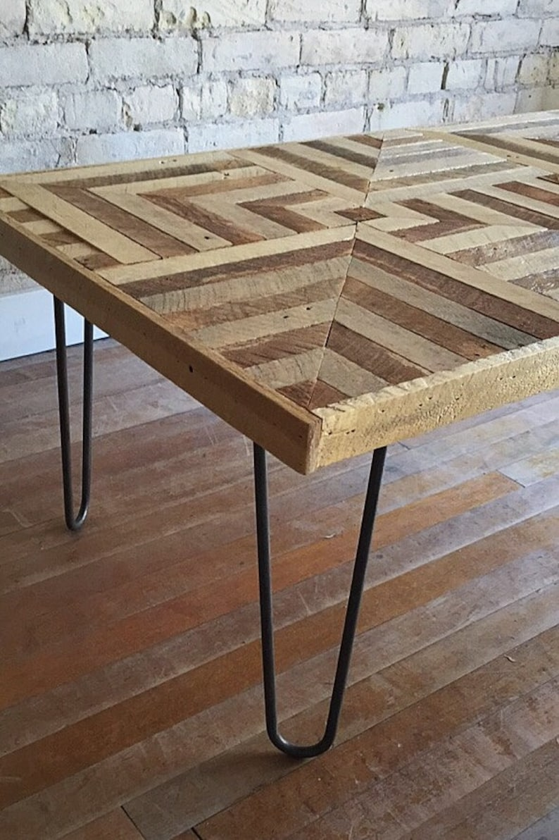 Reclaimed Wood Coffee Table Hairpin Legs Lath Geometric Etsy