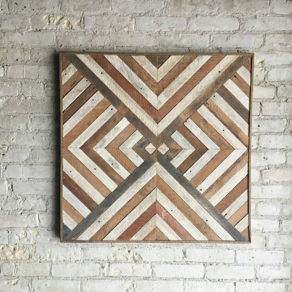 Reclaimed Wood Wall Art, Decor, Lath, Triangle, Diamond, Geometric, 30 x 30