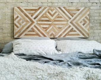 "Reclaimed Wood Wall Art, Queen Headboard, Wood Wall Decor, Geometric Pattern 60"" x 24"" Black Friday Sale"