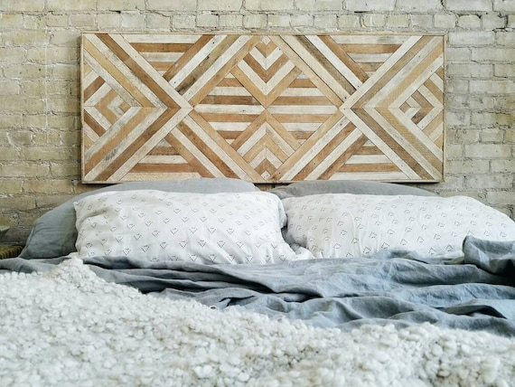 "Reclaimed Wood Wall Art, Queen Headboard, Wood Wall Decor, Geometric Pattern 60"" x 24"" Black Friday Sale"