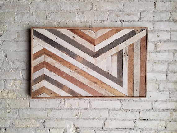 Reclaimed Wood Wall Art, Wall Decor, Abstract Chevron, Geometric, Lath Design