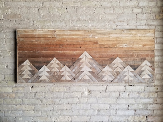 Reclaimed Wood Wall Art | Wall Decor | Wood Art | Queen Headboard | Wall Art | Mountain Art | Gradient Sky | Rustic Decor | Modern | 61x24