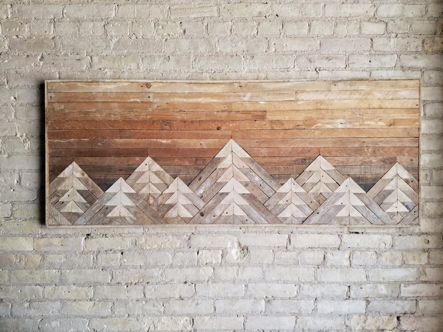 Reclaimed Wood Wall Art | Wall Decor | Wood Art | Queen Headboard | Wall Art | Mountain Art | Gradient Sky | Rustic Decor | Modern | 61x24 & Reclaimed Wood Wall Art | Wall Decor | Wood Art | Queen Headboard ...