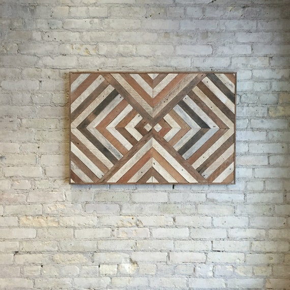 Reclaimed Wood Wall Art | Wood Wall Art | Wood Decor | Wood Art | Large Wall Art | Reclaimed Decor | Geometric Wood Art | Large Art | 36x24