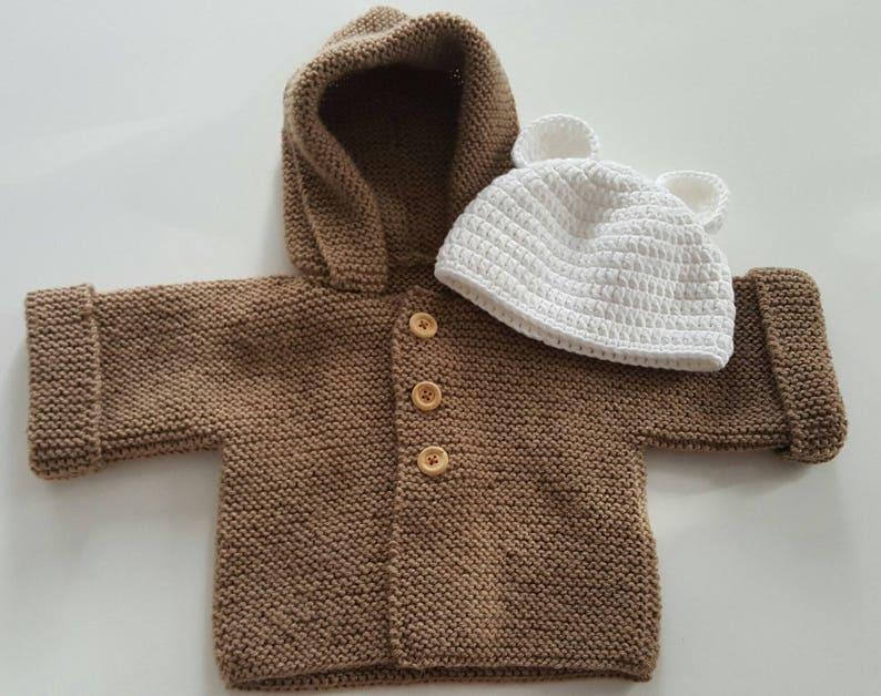 5f77e6aa9bc Gilet bébé bonnet ourson cardigan bébé layette cadeau