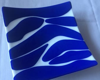 White and Blue Fused Glass Platter