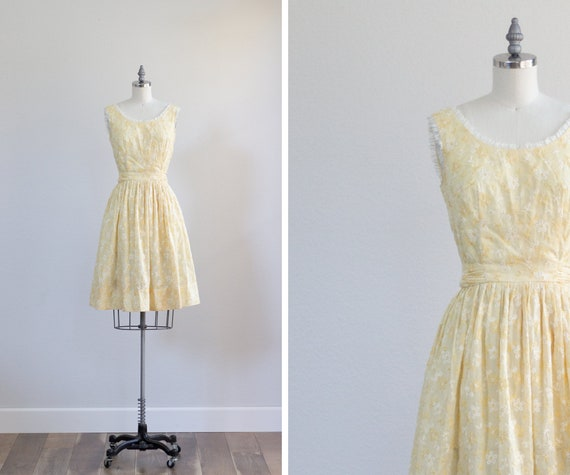 Vintage Day Dress . Yellow Cotton Dress . 50s 60s