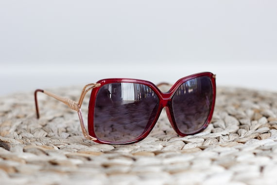 1970s Oversized Sunglasses . Red and Gold Sunglas… - image 1